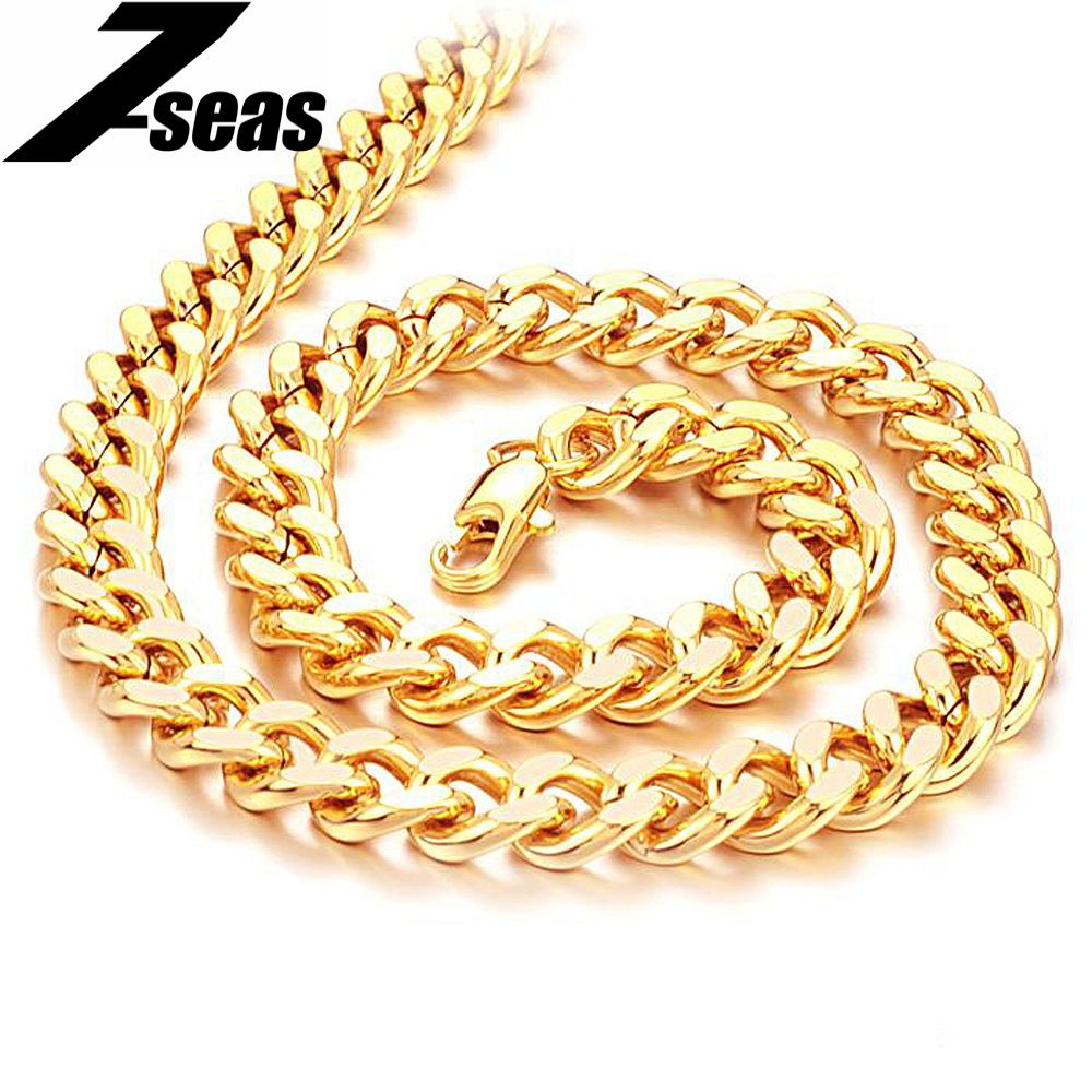 7SEAS Shining Gold Color Men Chain Necklace Fashion Jewelry Overlord