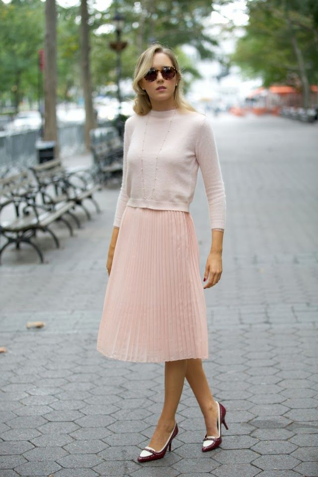 pastel pleated skirt crop sweater top karen walker super duper ...