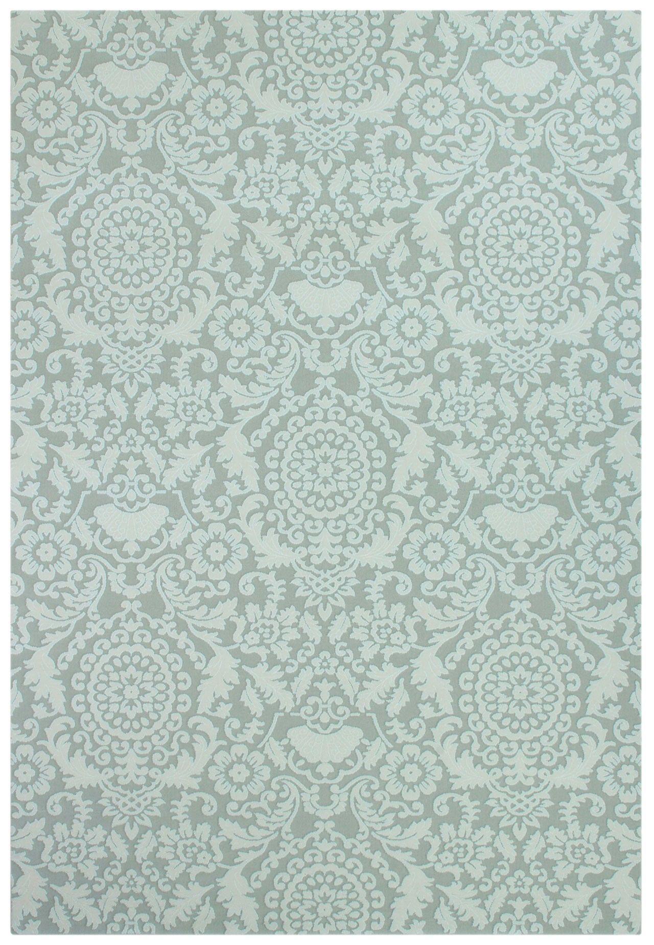 Teppich Blau Ornament Prato 8016 Light Green Teppich Carpet Orient Bordüren Modern Style