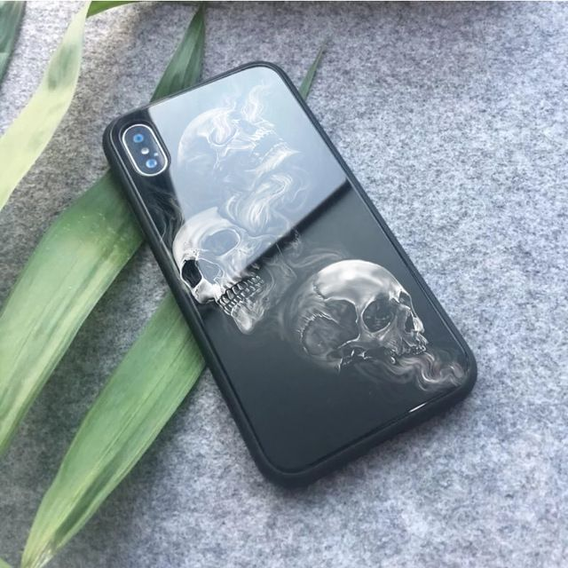 3d Skull Themed Luxury Tempered Glass Iphone Case (15