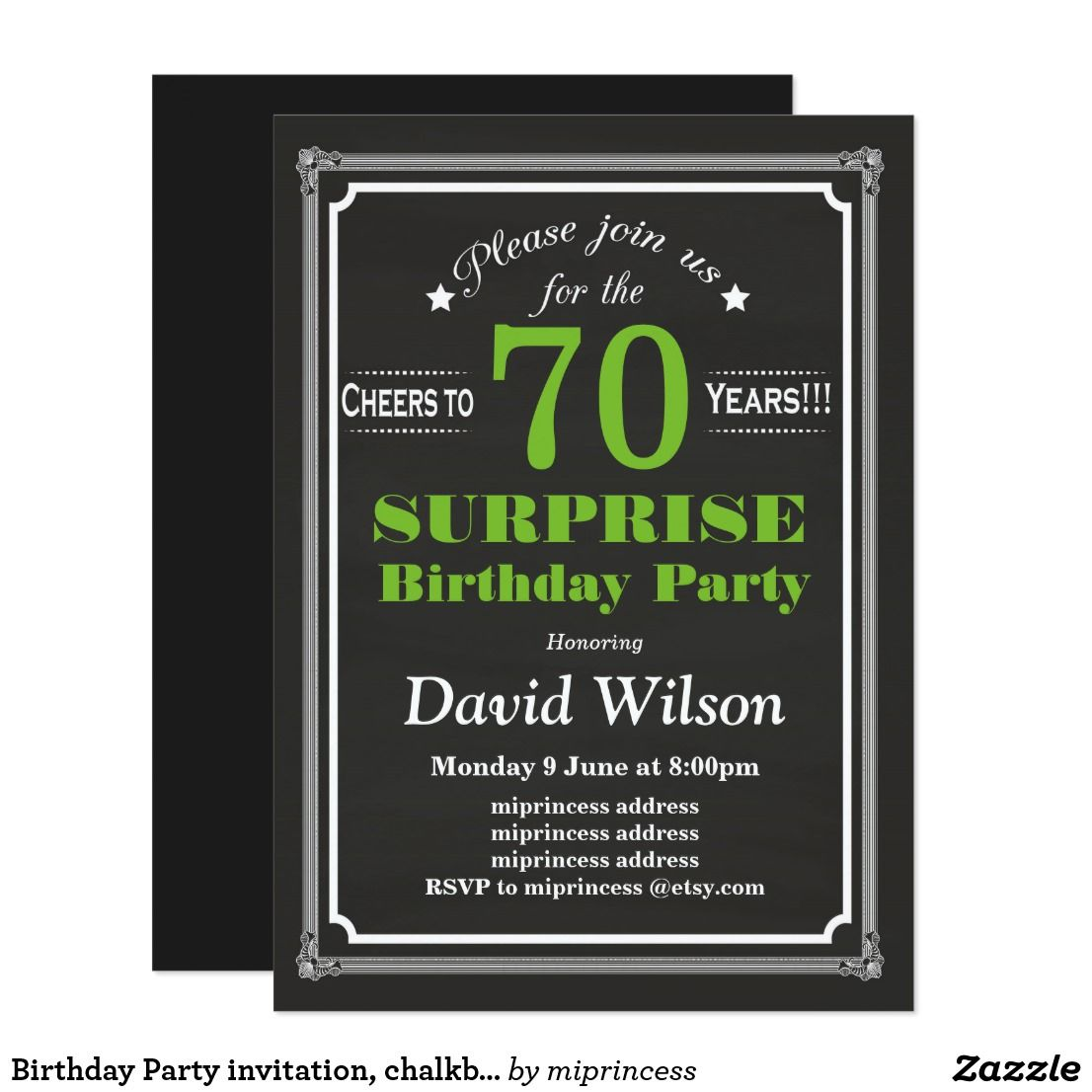 Birthday Party invitation, chalkboard background Card | Party ...