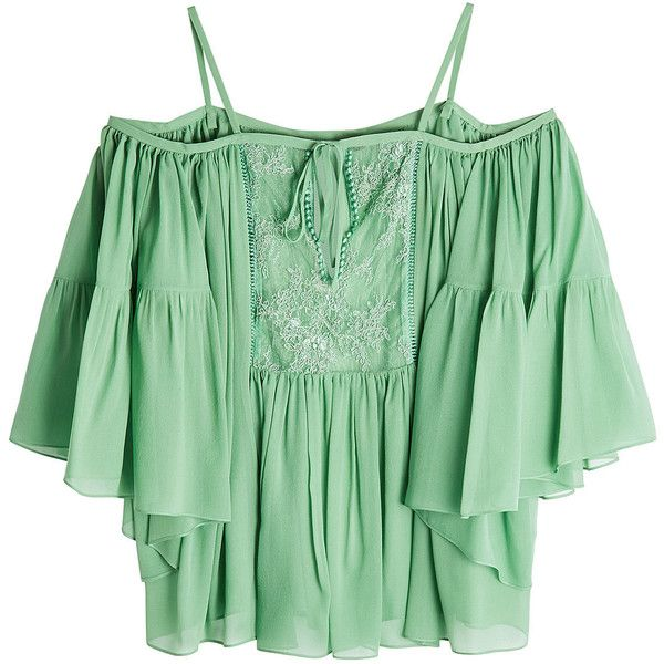 Roberto Cavalli S Pastel Green Silk Top Defines Glamour With A Cold Shoulder Look