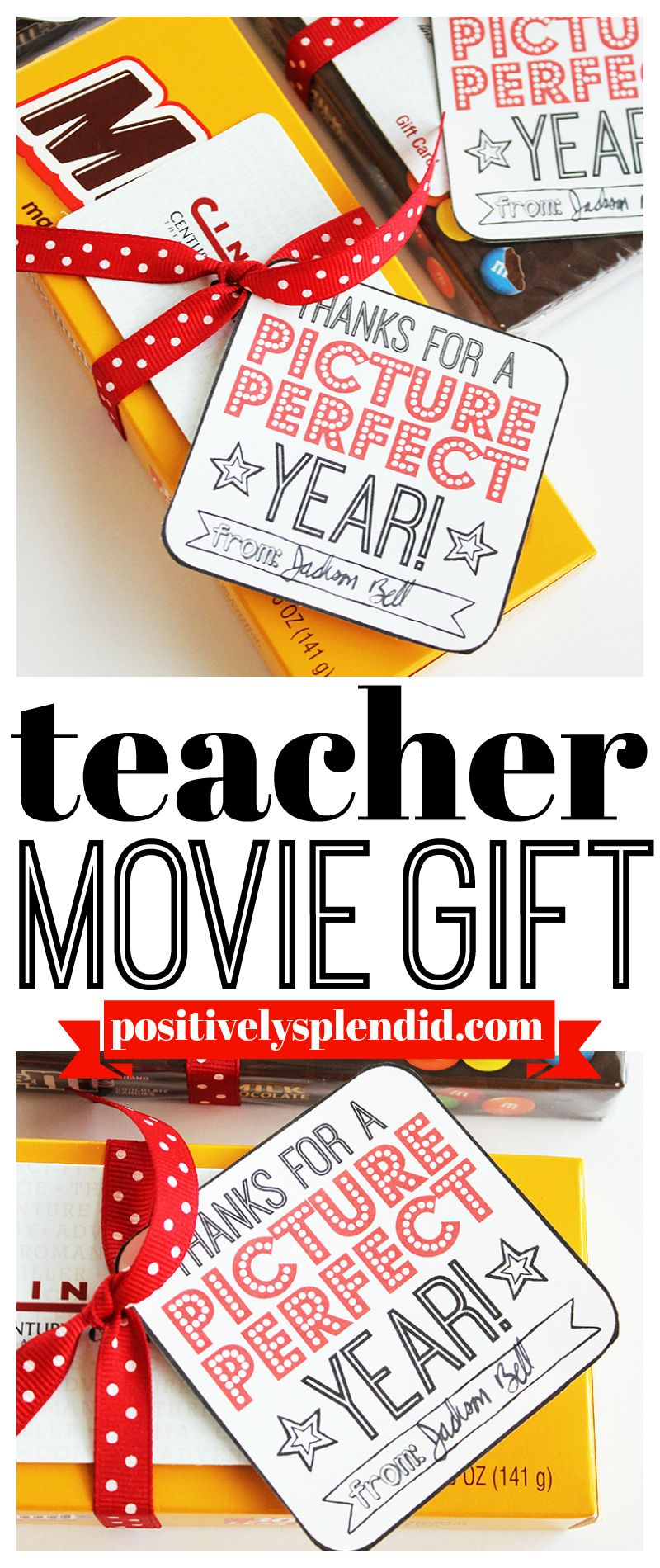 Movie Gift Card Teacher Gifts with Free Printable Tags #teachergifts