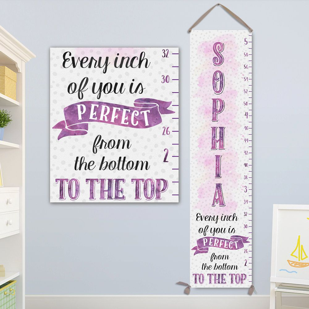 Purple personalized canvas growth chart modern growth chart personalized baby gift girl growth chart girl growth chart growth ruler height geenschuldenfo Choice Image