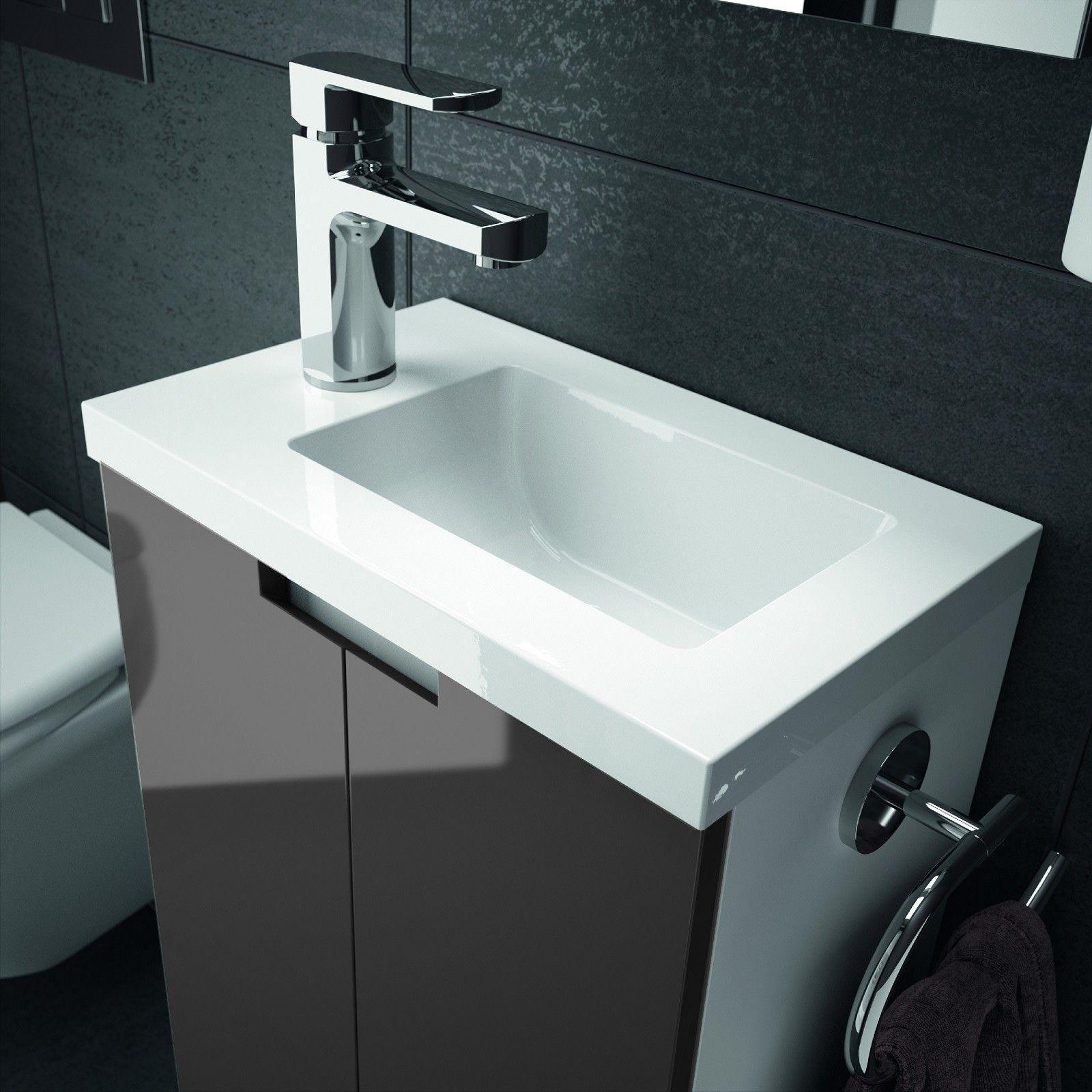 ALLIBERT Badmöbel Gäste-WC Set vormontiert weiß anthrazit grau Glanz ...