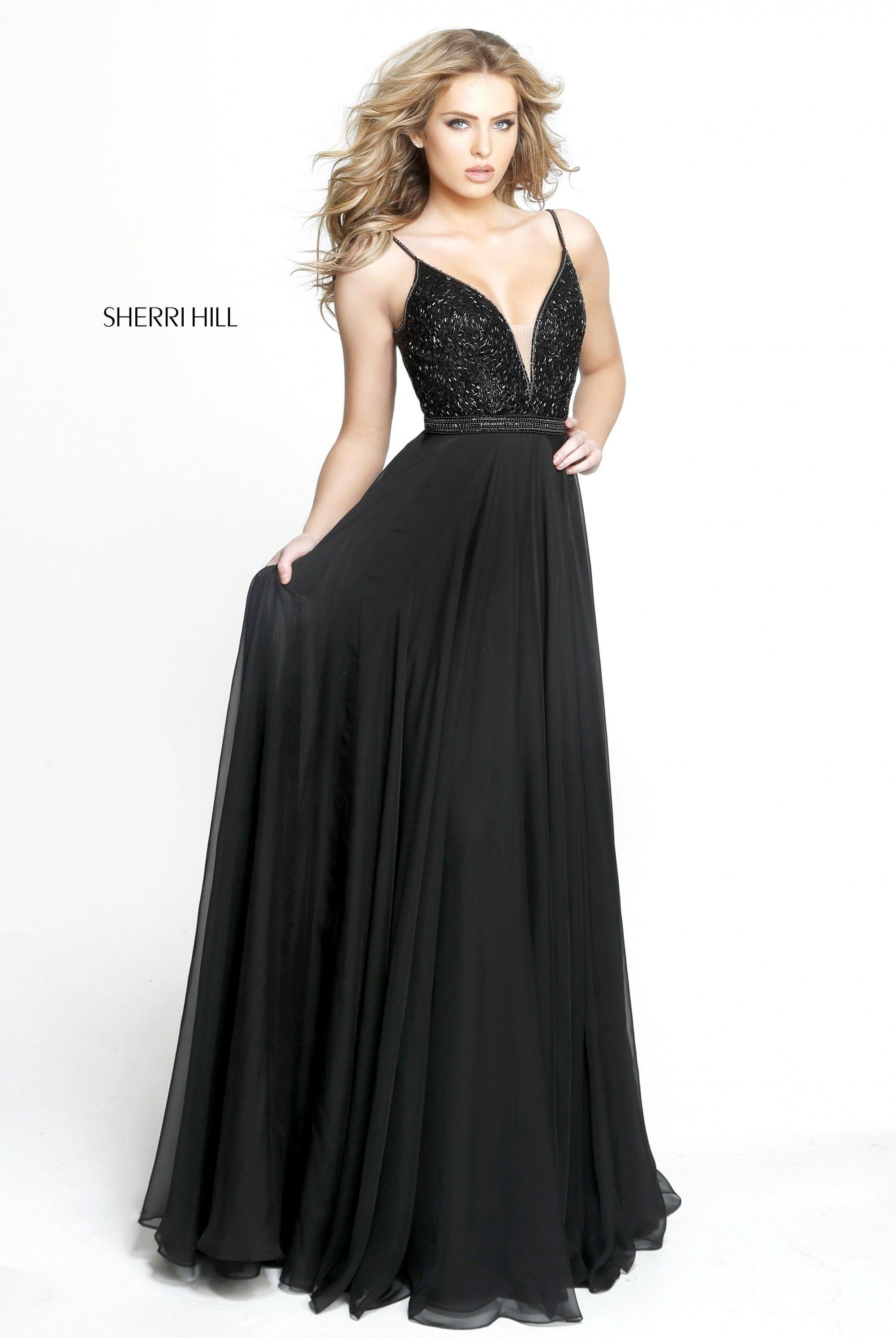 Sherri hill beaded chiffon long dress in senior prom