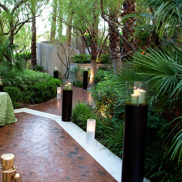Outdoor Lighting Las Vegas: Tall Candles Lit The Path And Fit Perfectly With The
