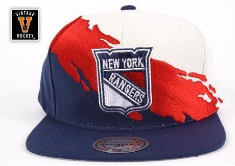 New York Rangers Mitchell  amp  Ness Cream Vintage  Paintbrush  Snapback  Hat by Mitchell 1b1399aed55