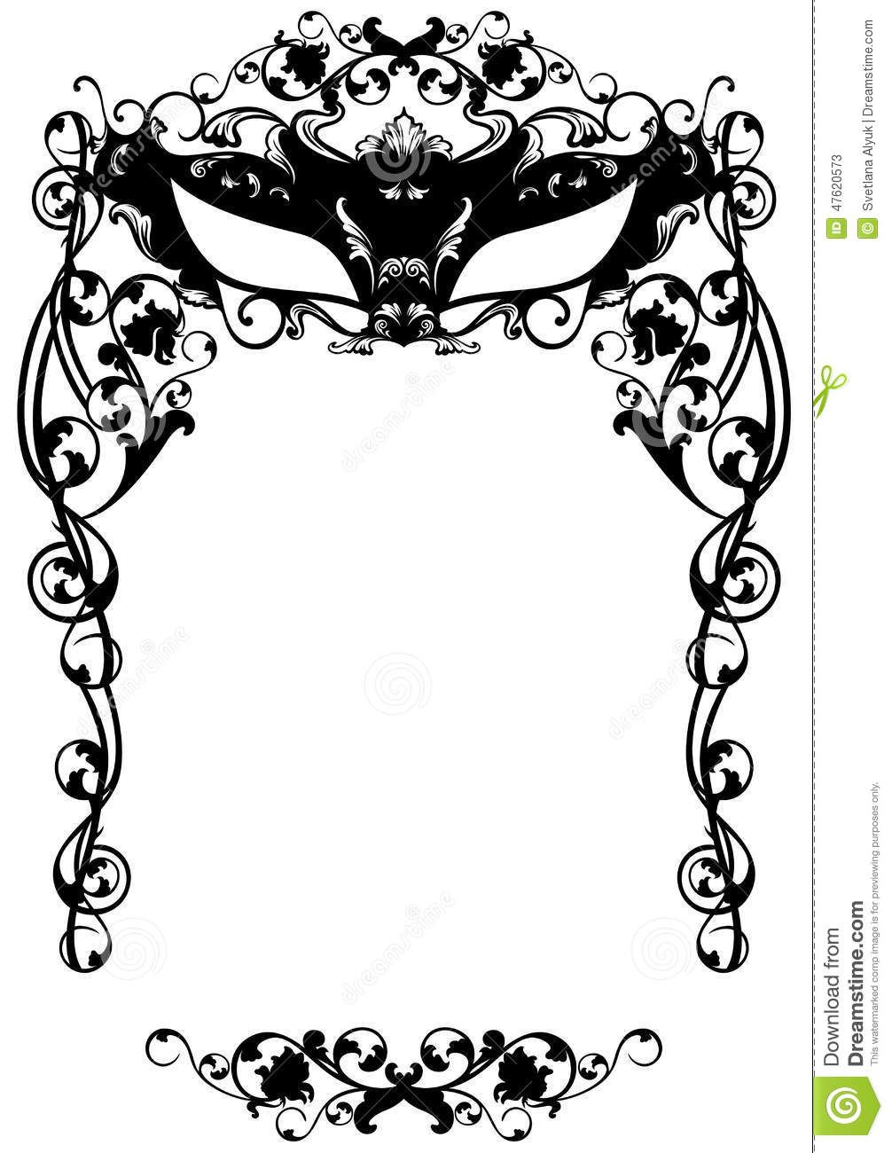 Invitation To Masquerade Party With Carnival Mask Black And White Masquerade Party Invitations Party Invite Template Invitation Template