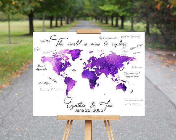 World map guest book canvas wedding guest book alternative wedding world map guest book canvas wedding guest book alternative gumiabroncs Images