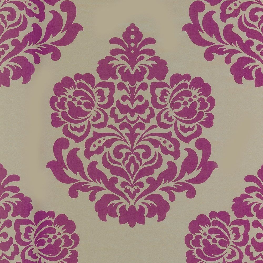 Indulge Damask Wallpaper Rich Gold / Pink / Berry