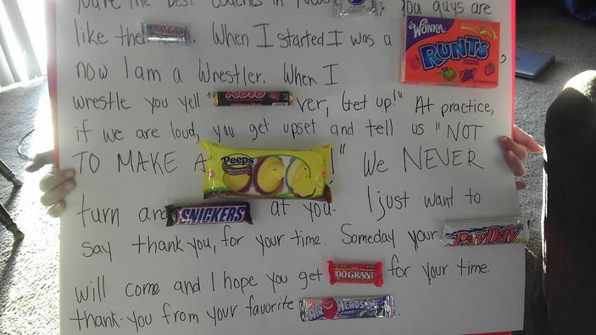 Candy Bar Thank You Letter To Wrestling Coach  Make Me Laugh