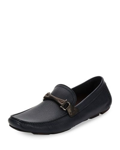 SALVATORE FERRAGAMO Grand Prix Leather Bit Driver, Blue Marine.   salvatoreferragamo  shoes   a9931dafca0