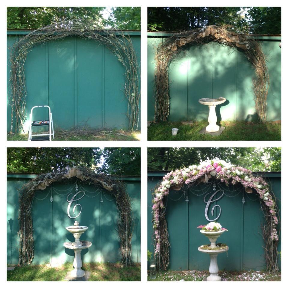 DIY arch made from chicken wire, sticks from my backyard, wigelia ...