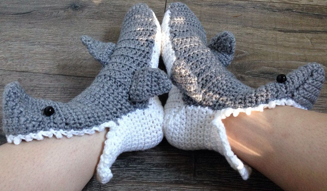 SharkSlippersCrochetPatternFree Shark Slippers Pinterest New Crochet Shark Slippers Pattern Free