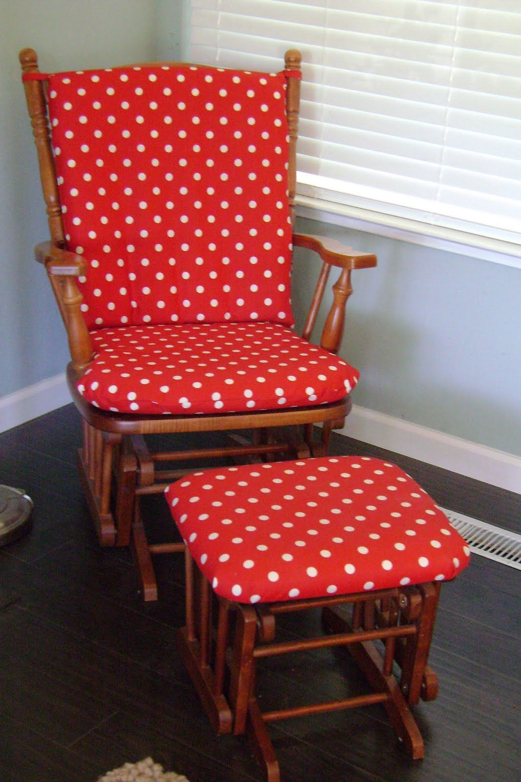 Red White Polka Dot Glider Cushions