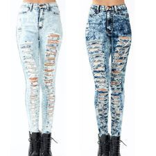 New! High Waisted ACID Mineral Light Wash Distressed Skinny Denim ...