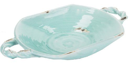 Napa Home Garden Aegean Collection 3Inch By 1712Inch Ceramic Low Bowl With  Rope Handles Antique Aqua