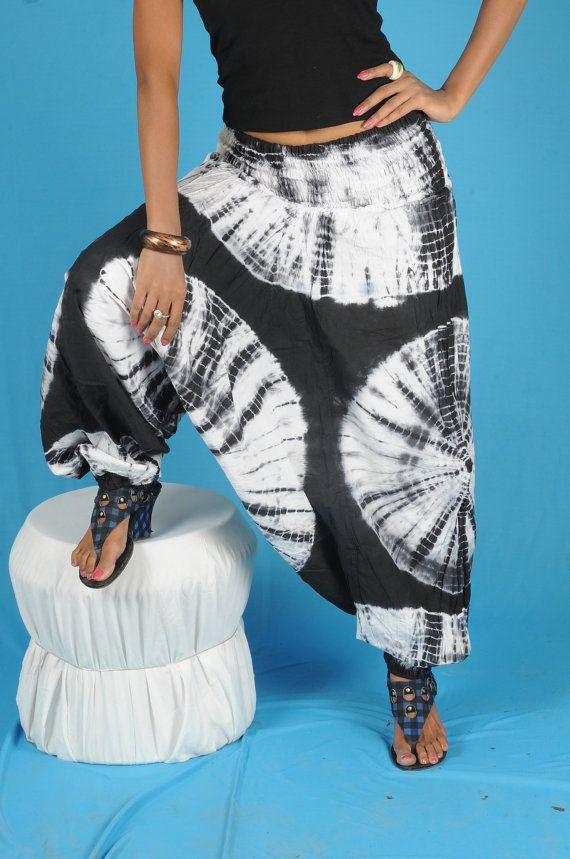 b4e96b27f7835 Tie Dye Harem Baggy Loose Genie Pants Trouser jumpsuit Yoga Boho Gypsy  Hippie Indian women Ladies Alibaba Black Pants