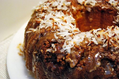Recipe: Caramel and Toasted Coconut Rum Cake with Candied Walnuts {#CaptainsTable}