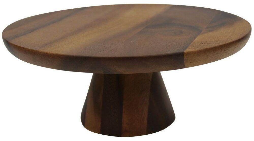 30cm acacia wood cake stand on pedestal zodiac wood
