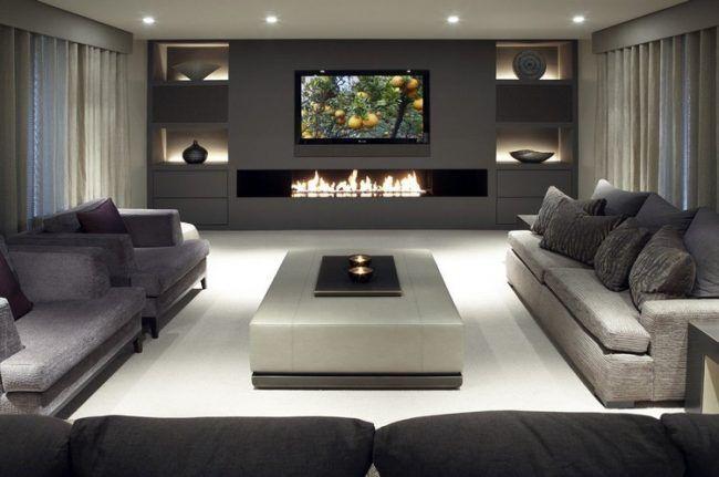 Beleuchtung Wohnzimmer Modern Wohnwand Grau Regale Offener Kamin