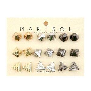 Gold, Silver, Hematite 9 Piece Studded Earring Set