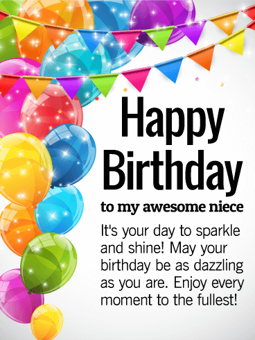 Its Your Day To Shine Happy Birthday Wishes Card For Niece Add