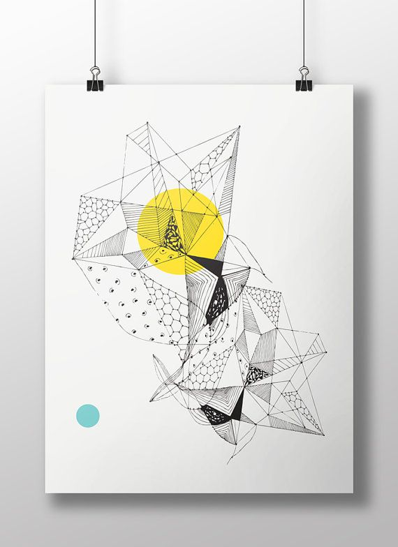 Faceted Triangle Art Geometric Giclee Art Prints Wall Art By Fybur