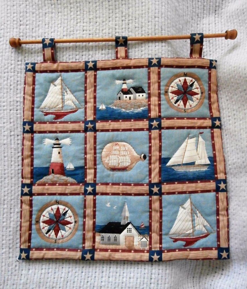 Hand Sewn Quilted Wall Hanging with Rod, Nautical, Lighthouse, Boat, Ship, Sea #Unbranded