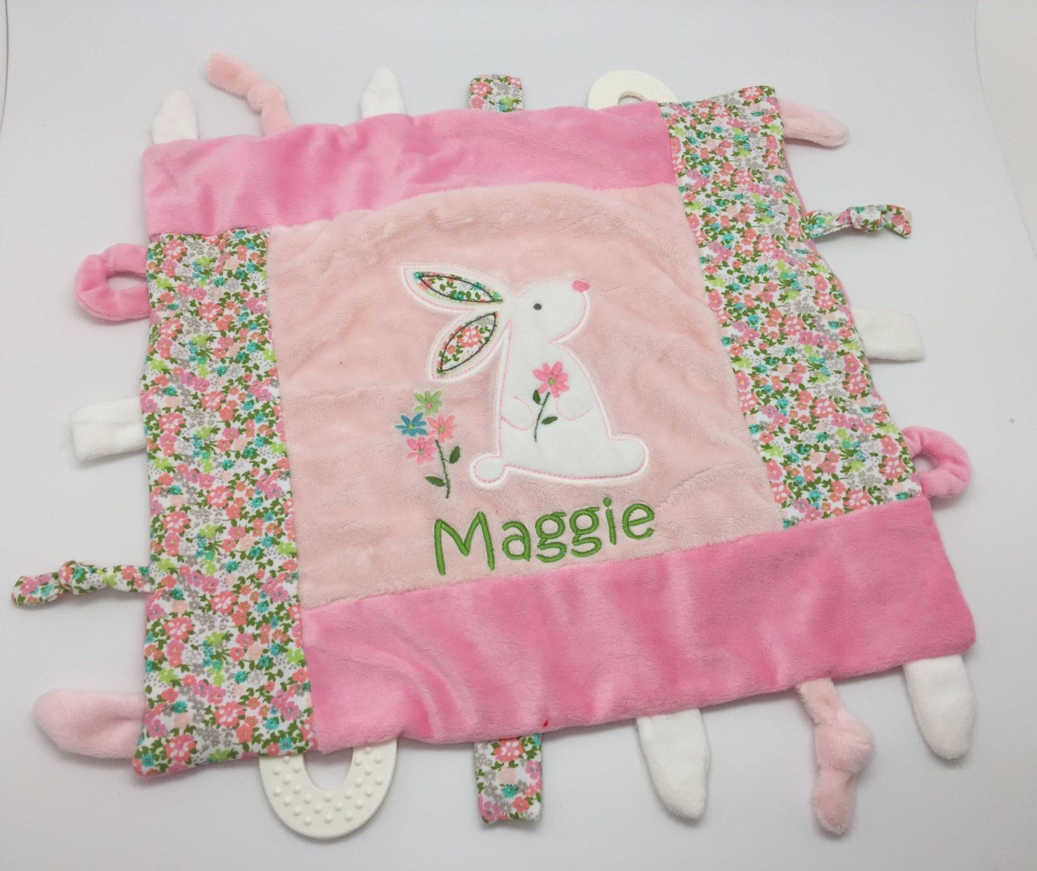 Personalized baby girl gift sensory toys personalized baby shower personalized baby girl gift blankie toy minky blanket personalized baby gift monogram negle Images