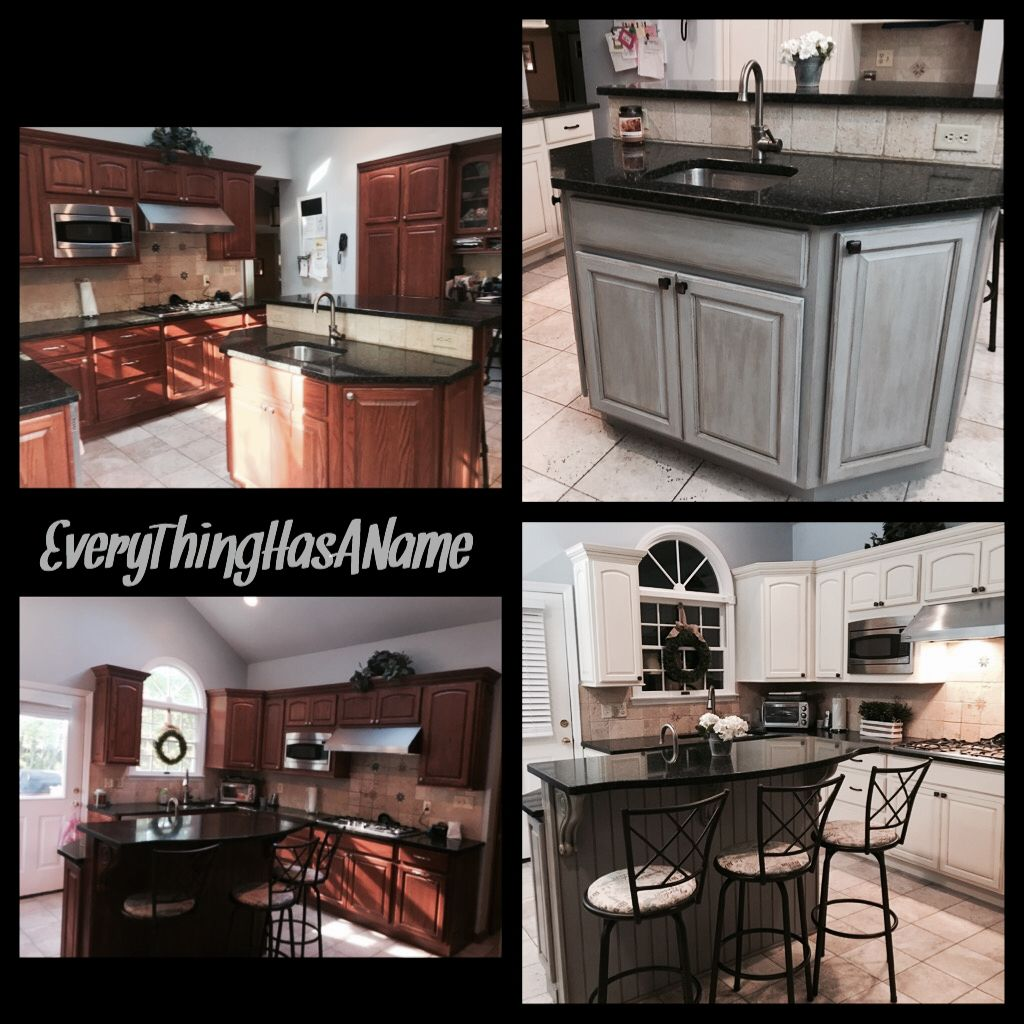 Painted kitchen cabinets with old white and pin strip glaze and