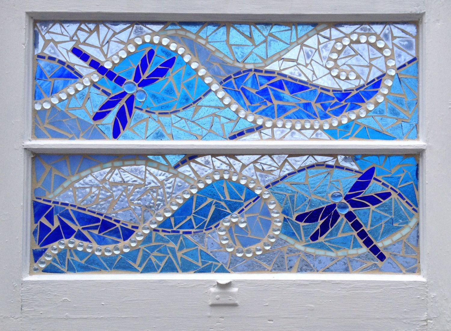 Ocean Wave Stained Glass Mosaic Artwork Vintage Recycled