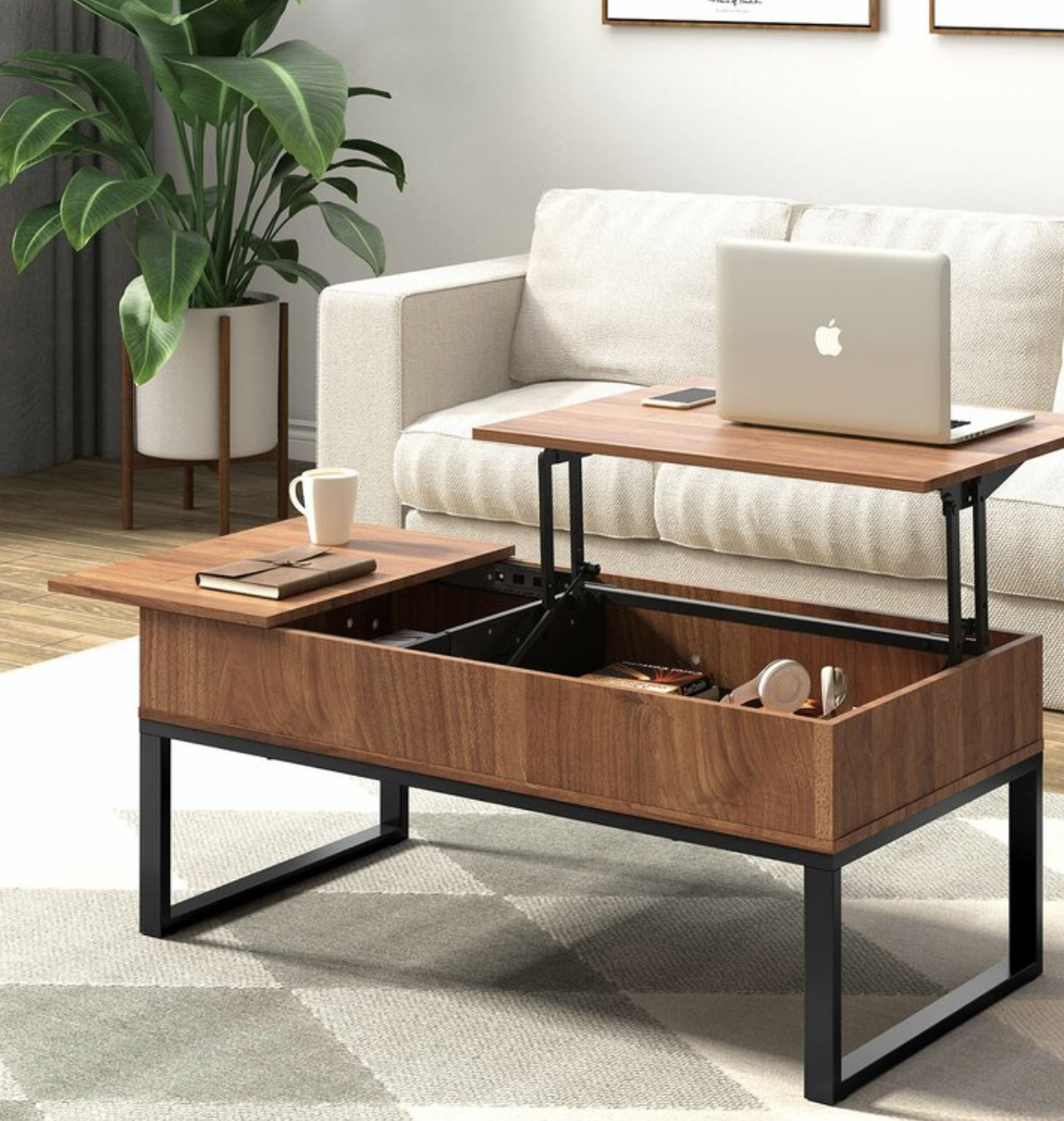 Valero Lift Top Extendable Sled Coffee Table With Storage Wood Lift Top Coffee Table Coffee Table Coffee Table With Hidden Storage [ 1260 x 1196 Pixel ]