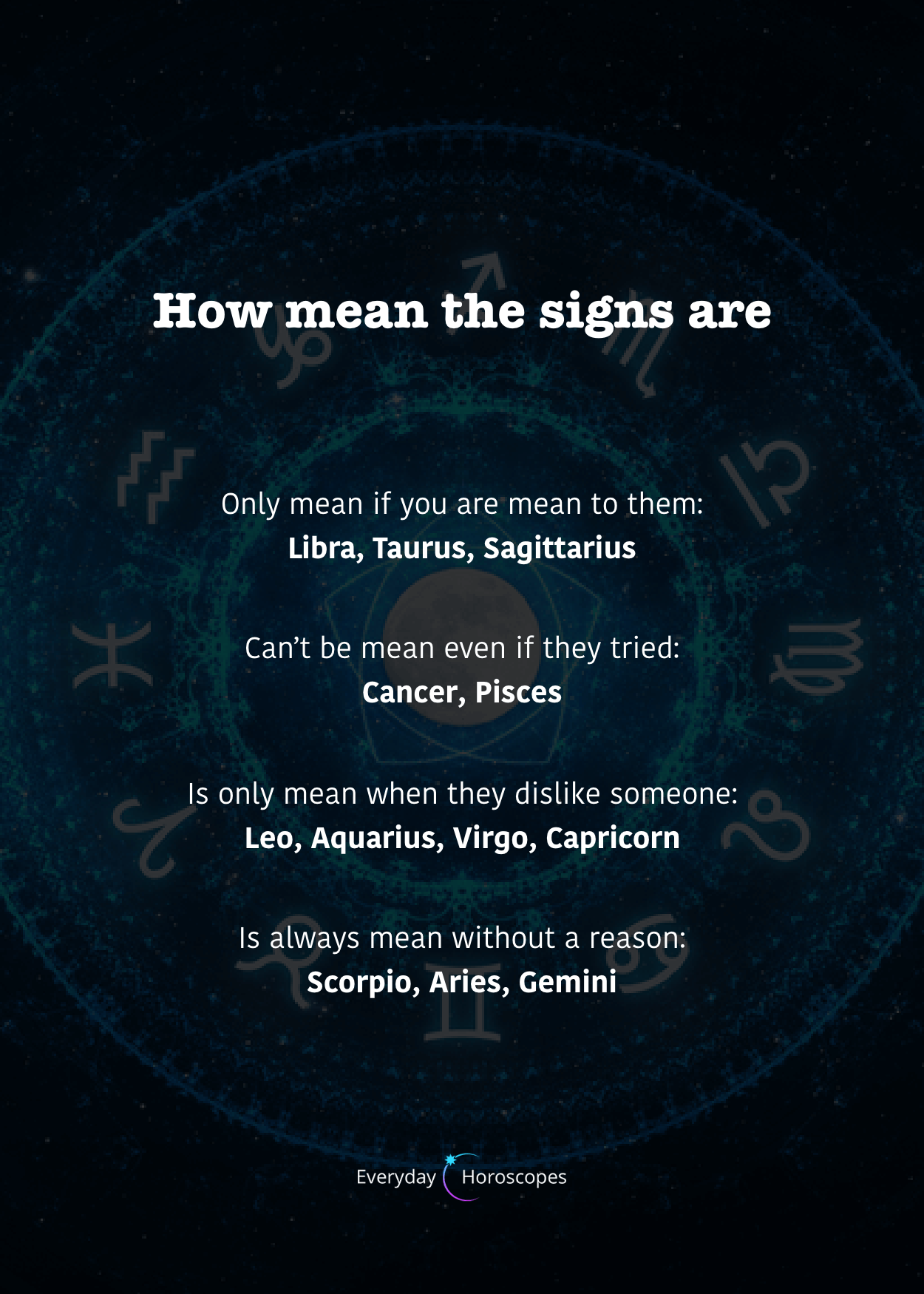 Are you mean? And other bad habits of zodiac signs. #dailyhoroscope #todayhoroscope #horoscope #zodiacsigns #meansigns