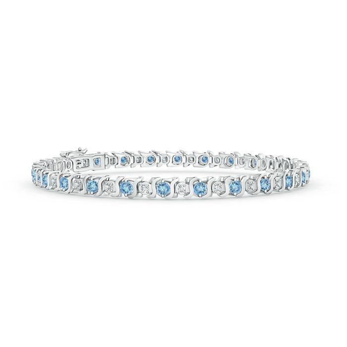 Angara Four Prong Set Tennis Diamond Eternity Bracelet in White Gold Ff9LOg