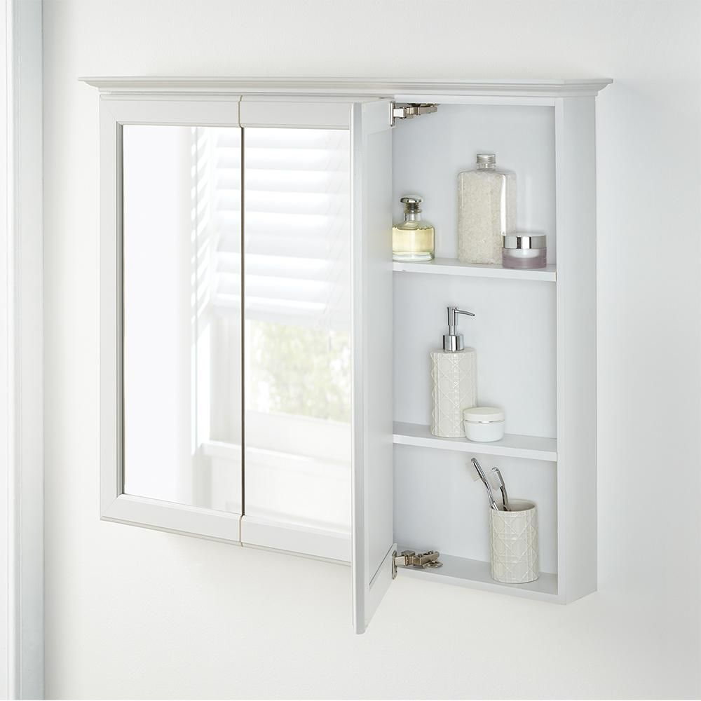 Home Decorators Collection 36 5 8 In W X 29 1 4 In H Fog Free Framed Surface Mount Tri View Bathroom Medicine Cabinet In White 45407 With Images Bathroom