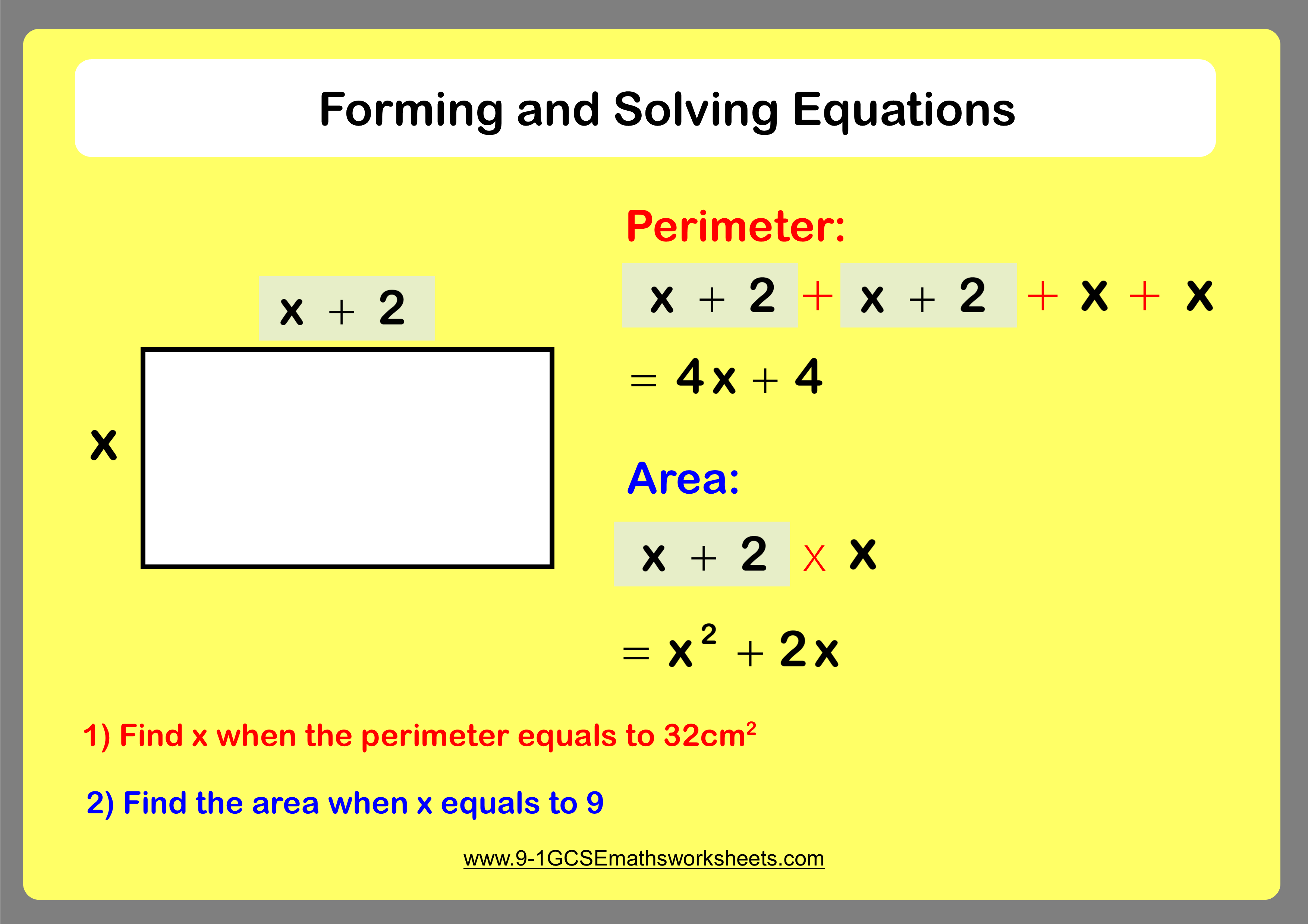 Forming And Solving Equations Example