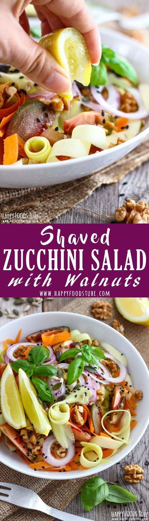 Shaved Zucchini Salad with Walnuts is a quick & easy side. Fresh vegetables, nuts and seeds are finished off with a drizzle of lemon juice. Healthy salad ideas. Vegetarian salad recipes via @happyfoodstube