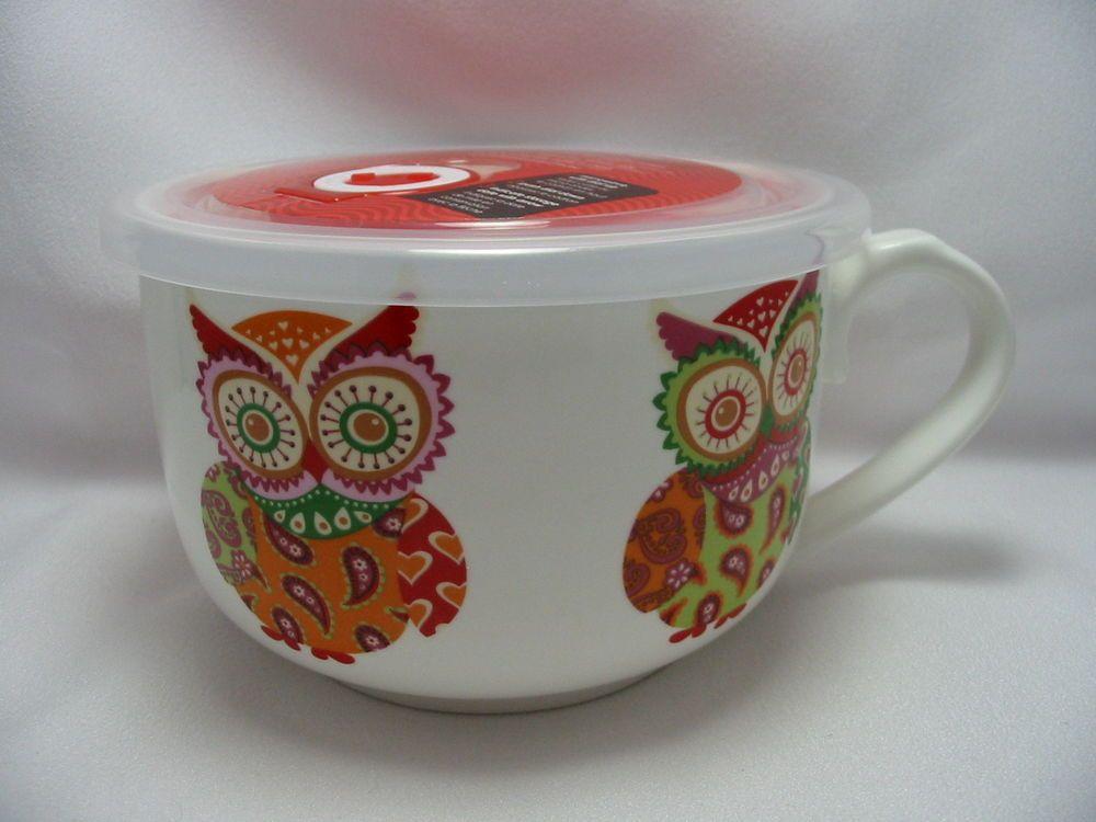 Steam From Soup ~ Patchwork owls microwave microwaveme soup coffee mug bowl