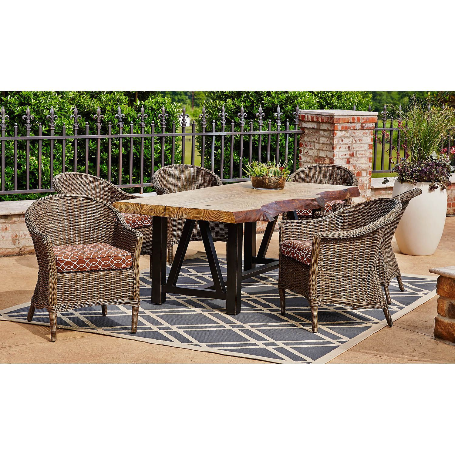 Designed With Exclusive Environmentally Friendly TerraFab Technology The Burlington 7 Piece Dining Set Sams ClubOutdoor