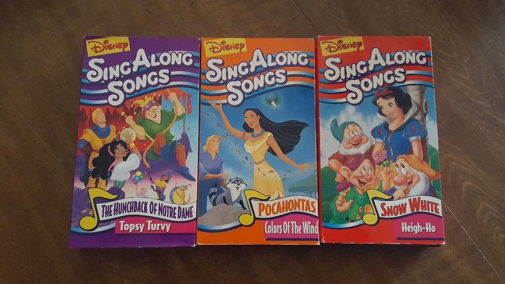 Disney Sing Along Songs Vhs Tape Lot The Hunchback Of Notre Dame Pocahontas Sing Along Songs Songs Vhs Tapes