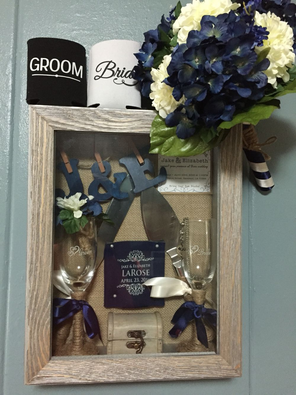 Wedding Shadow Box Idea I Got The Shadow Box From Hobby Lobby Which I Lucked Up Hit T Wedding Shadow Box Hobby Lobby Wedding Invitations Bouquet Shadow Box