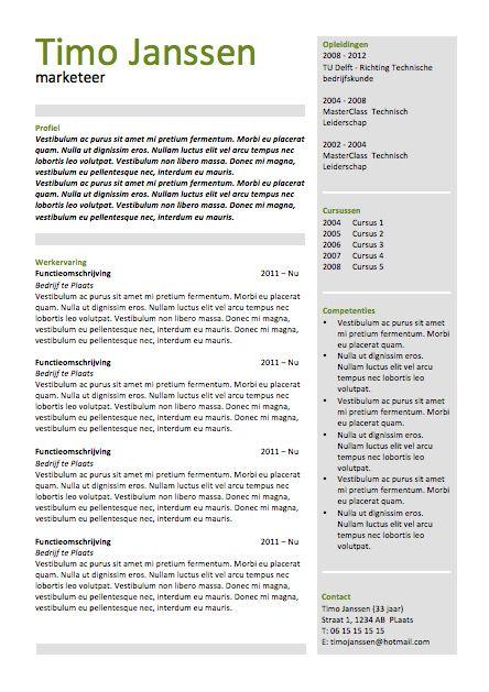 CV sjabloon MS Word CV sjablonen van Lifebrander Pinterest - how to word a resume
