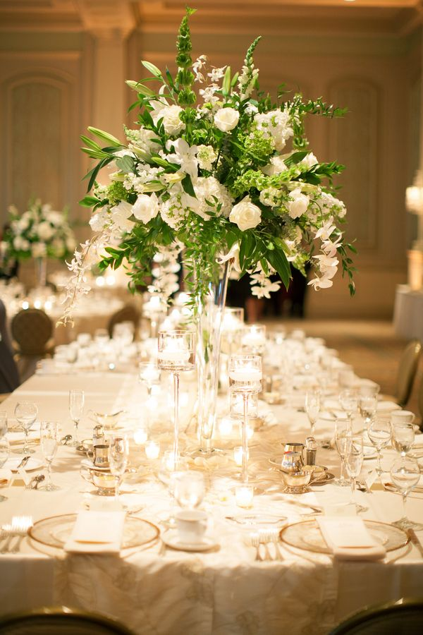 Elegant Cream and Green Reception Centerpiece | photography by http://nancyrayphotography.com