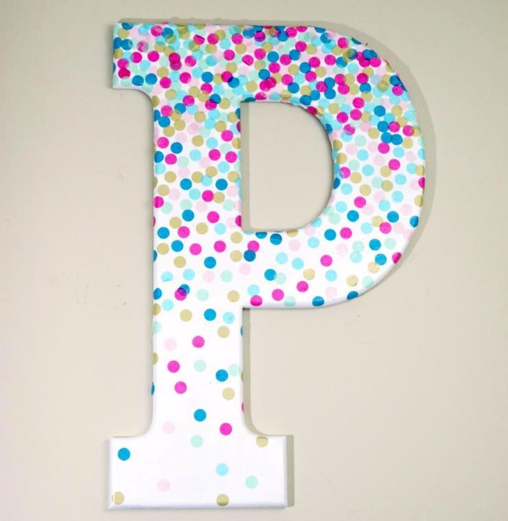 Confetti Covered Letter Wall Art