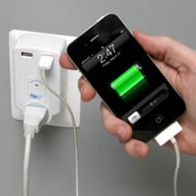 Portable surge protector, perfect for travel, Three surge-protected outlets plus 2 USB charging ports