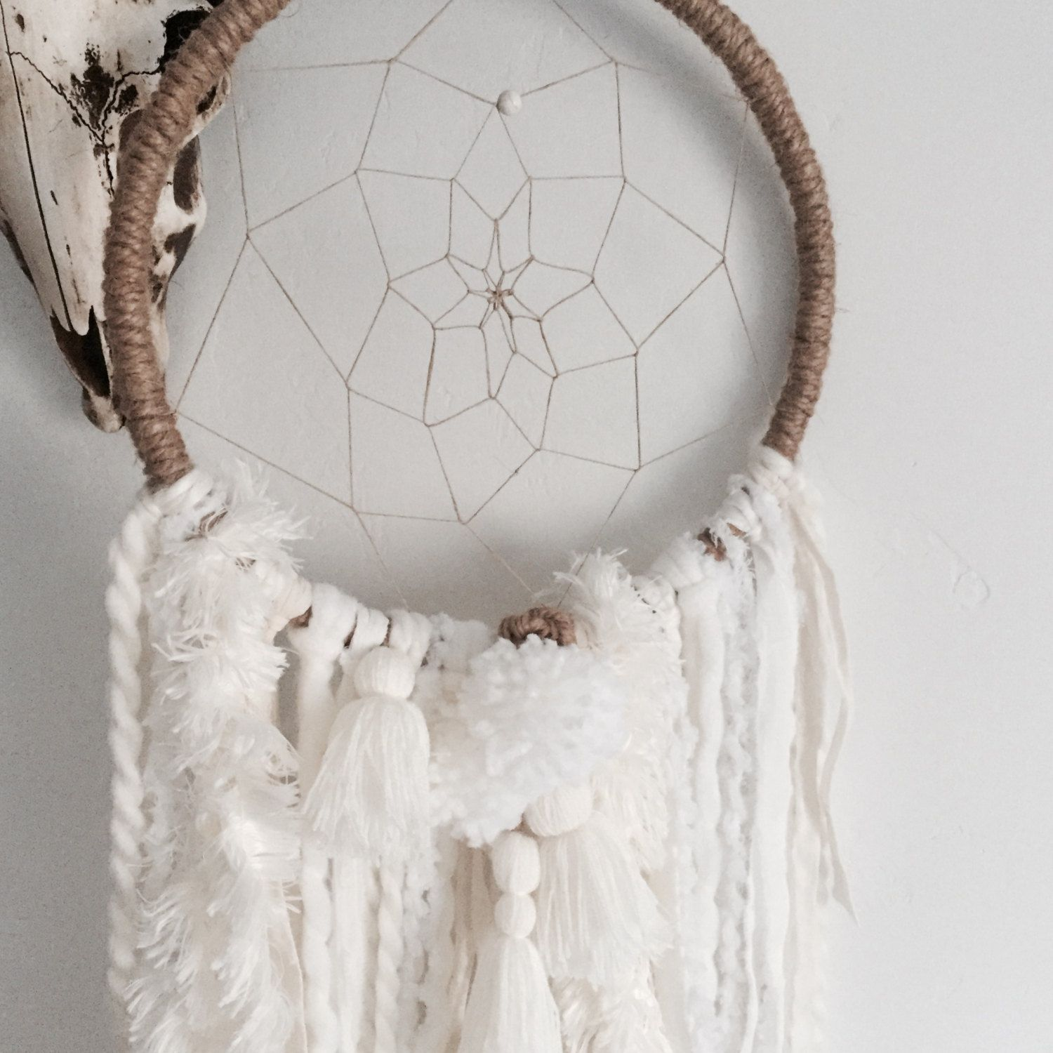 Bohemian Dream Catcher, Large White Dream Catcher, Dreamcatcher, Wall Hanging…
