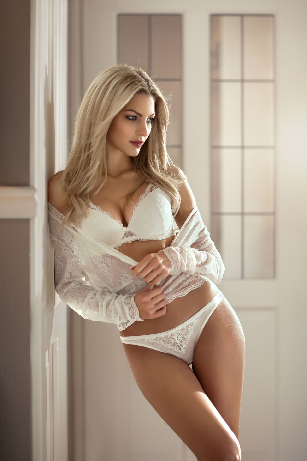 Blonde in lingerie chating