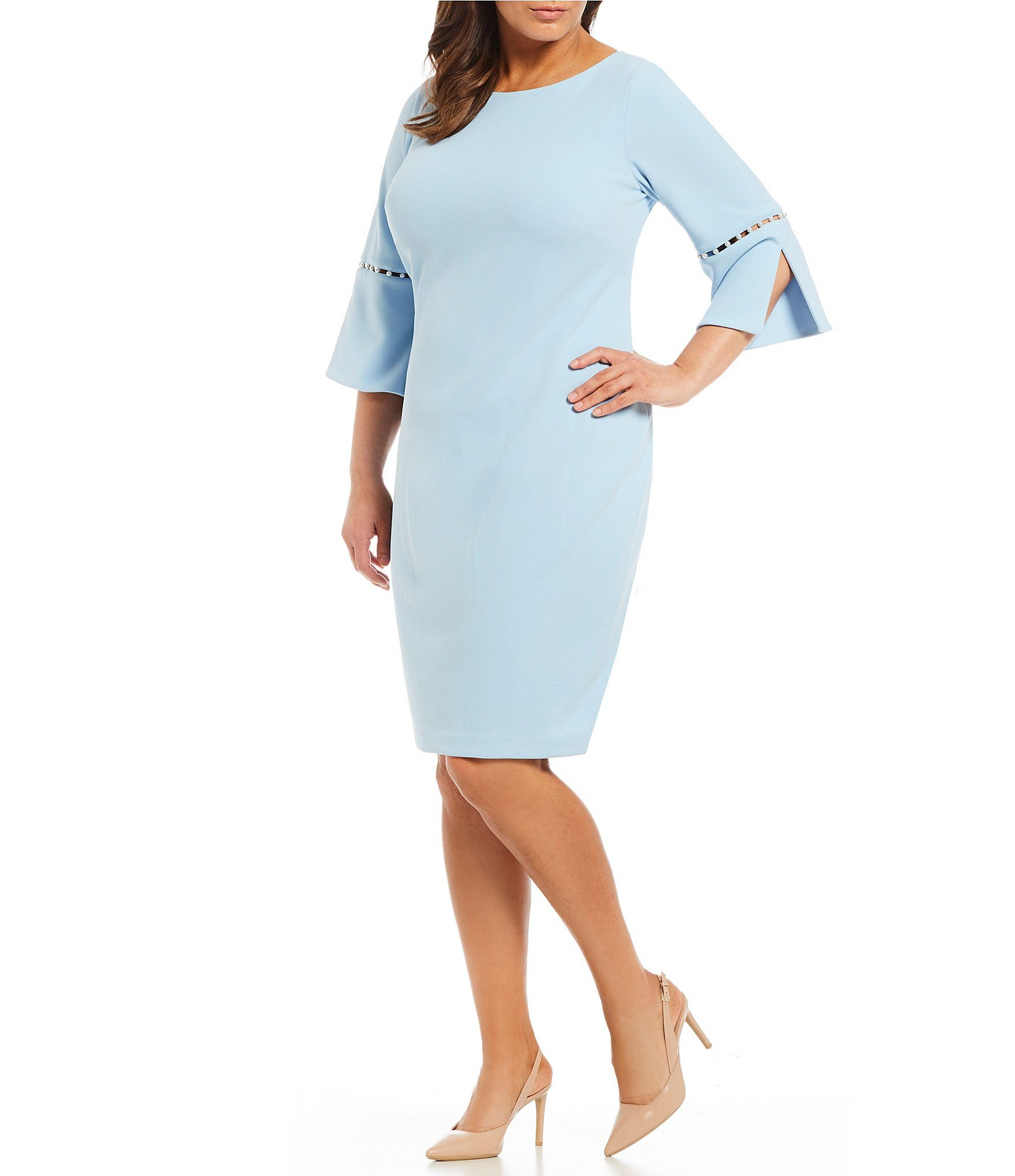 5b2443b13c7 Calvin Klein Plus Pearl Inset Split Sleeve Sheath Dress  Dillards ...